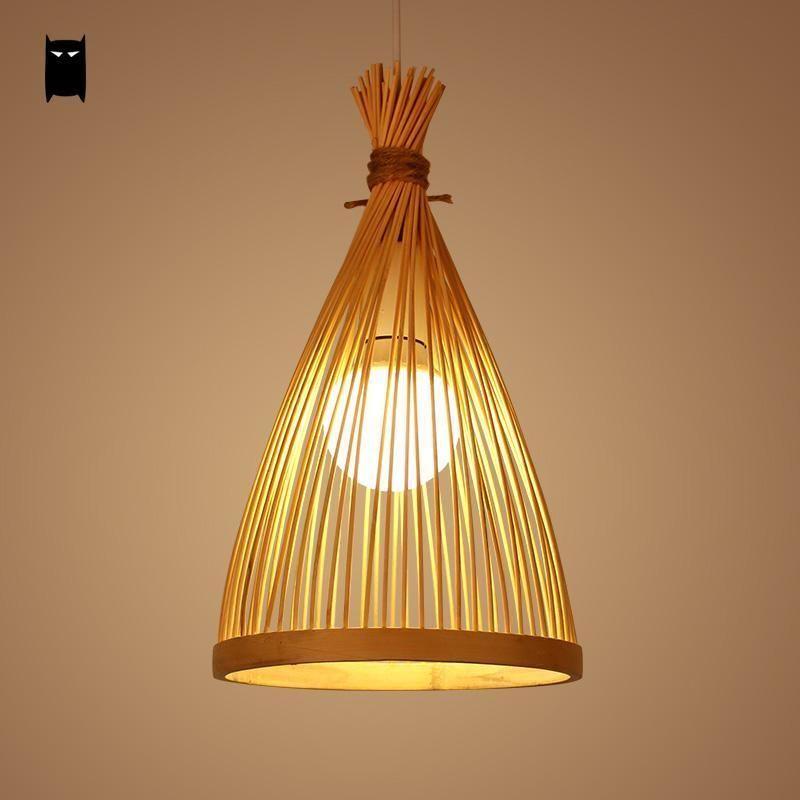 Bamboo Wicker Rattan Bag Cage Pendant Light Fixture Asian Hanging Ceiling Lamp