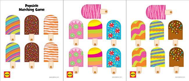 photograph regarding Popsicle Printable titled Printable: Popsicle Matching Match BooksToys for Youngsters
