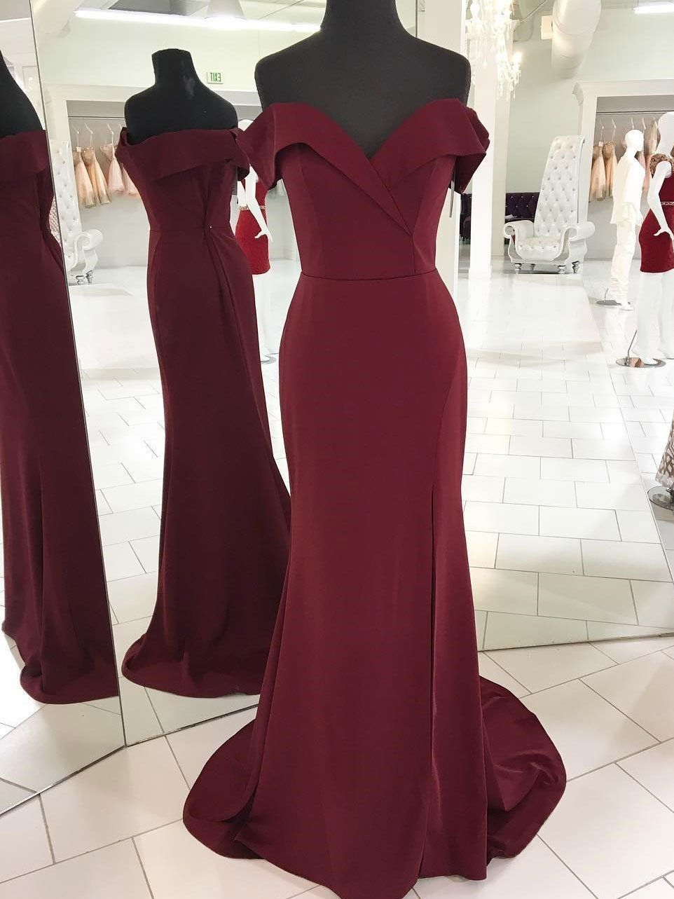 Burgundy mermaid prom dressessimple cheap long party dresses