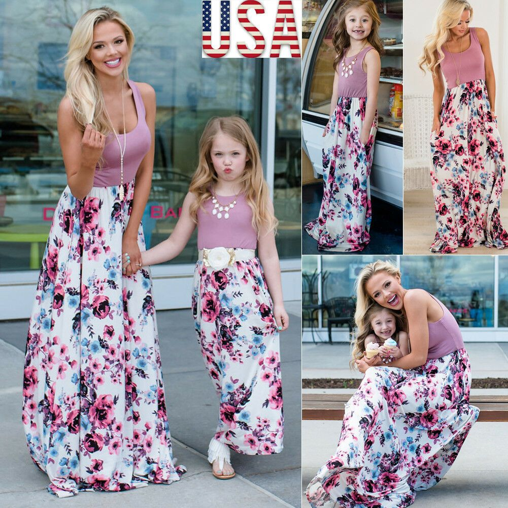 Mother Daughter Family Matching Dress Women Kids Girl Floral Beach Long Dresses