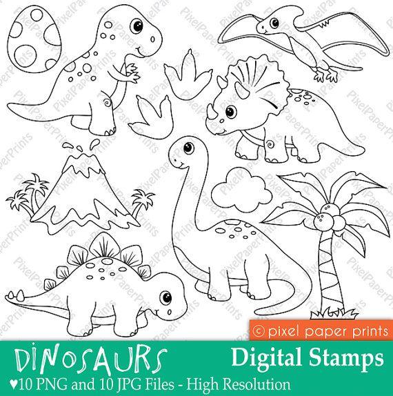 Dinosaurs Digital Stamps Dinosaur Clip Art Cute Dinosaurs Coloring Graphics Line Art Digital Download Digital Stamps Dinosaur Stamps Coloring Pages