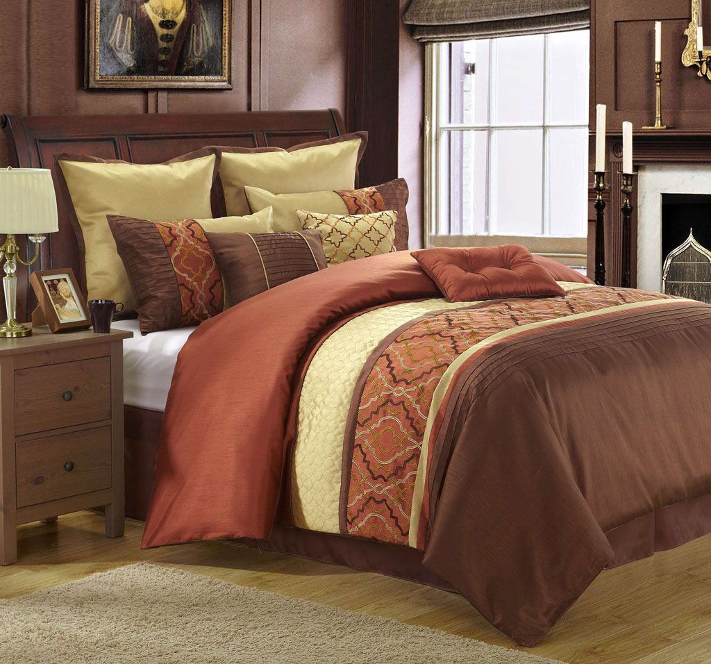 13 Piece Cambridge Rust Gold Chocolate Bed In A Bag Set Brown Comforter Sets Comforter Sets Bedding Sets