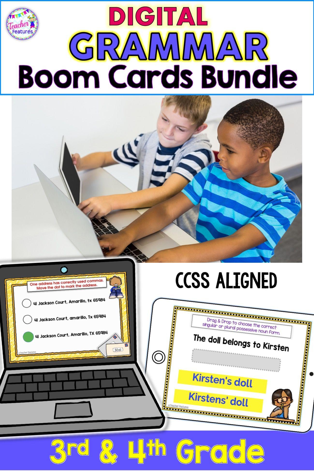 Boom Cards Reading Ela Amp Grammar Digital Task Cards Bundle For 3rd Grade