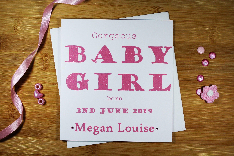Beautiful Handmade Personalised New Baby Girl Card