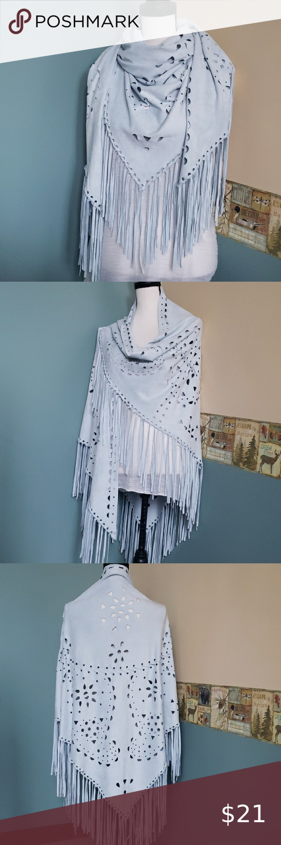 Photo of Faux suede triangle scarf/wrap with fringe Beaut! Soft faux suede, light blue is…
