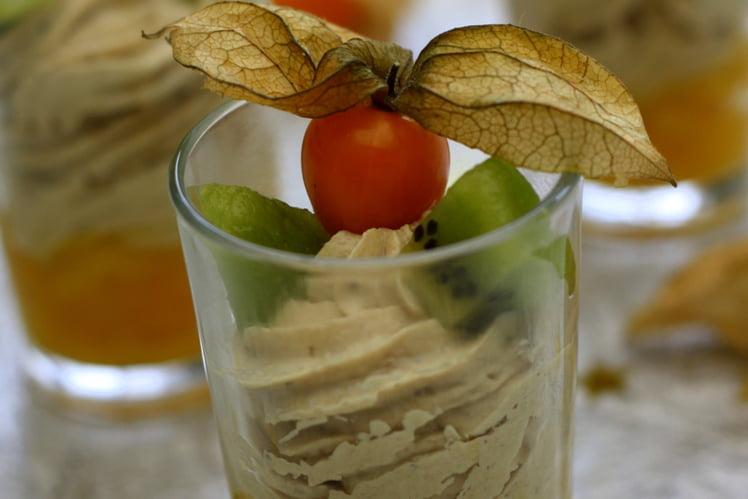 Recette de Verrines festives au foie gras et fruits exotiques #verrinessalees
