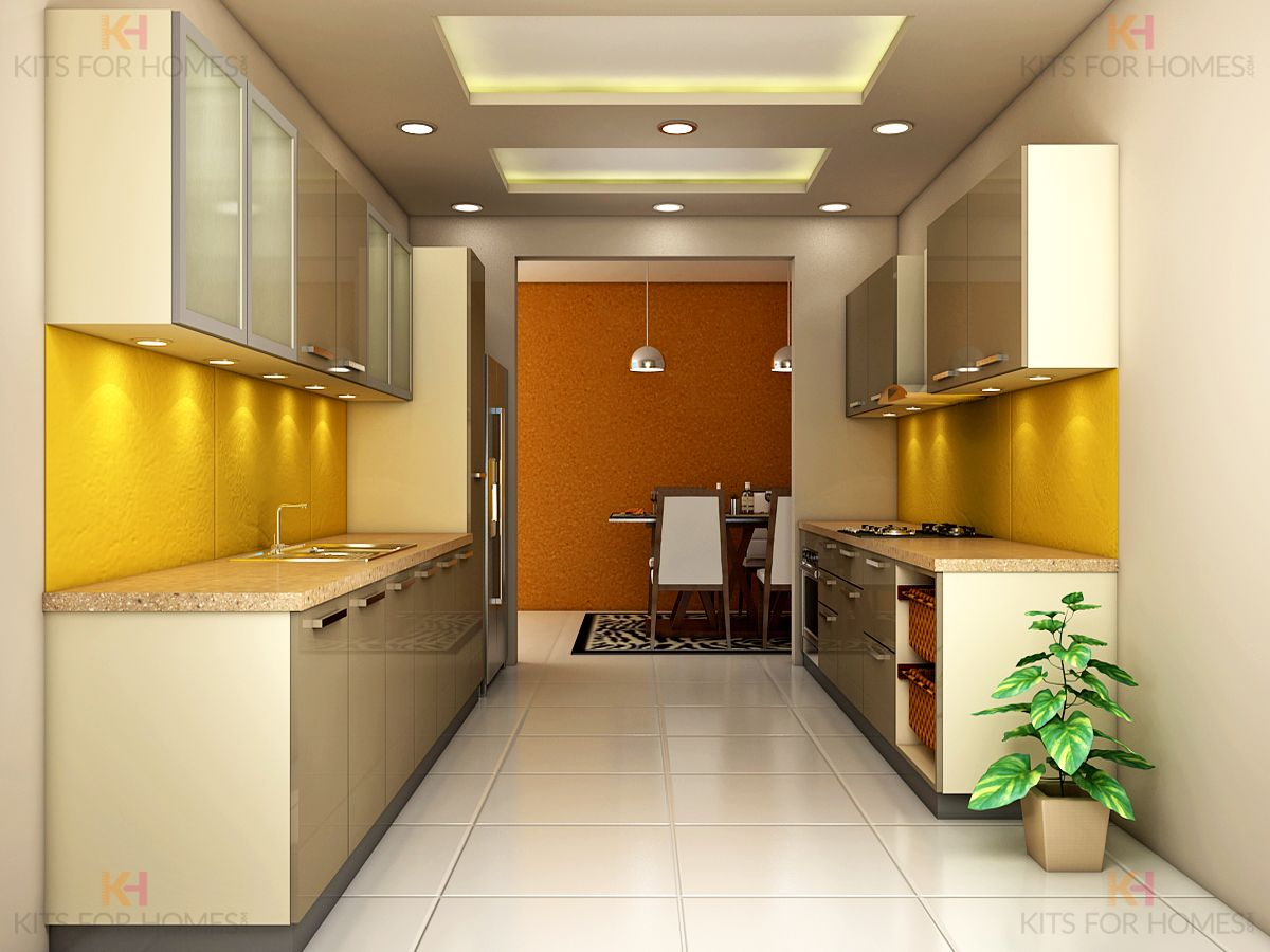 Parallel Shaped Kitchen #modularkitchen #interiordesign Custom Wardrobe Kitchen Designs Decorating Design