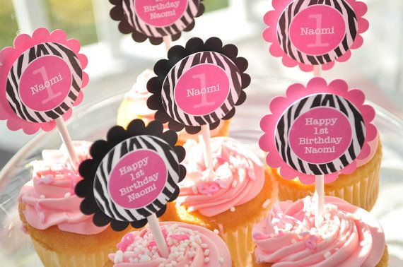 12 Cupcake Toppers Girls 1st Birthday Party Zebra Stripe Pink