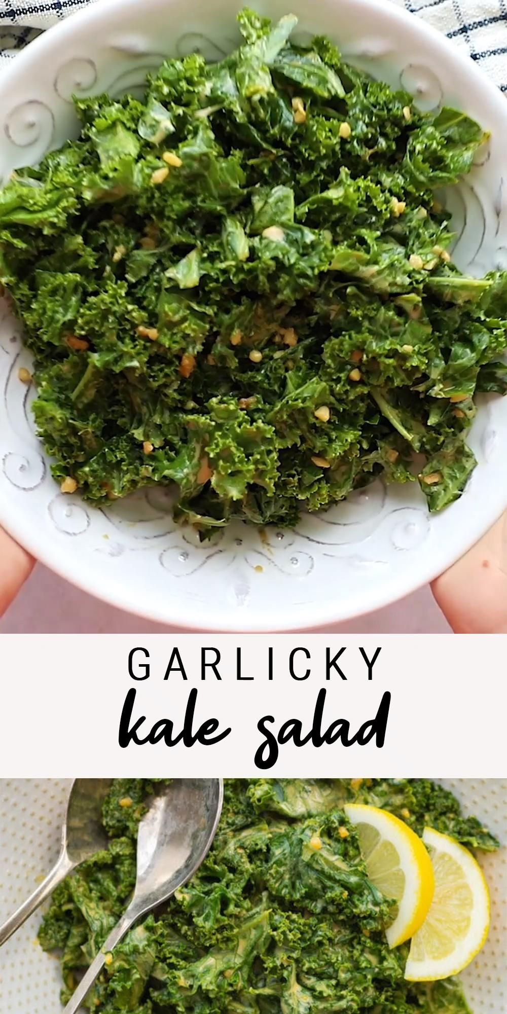 Garlicky Kale Salad with a Zesty Tahini Dressing |