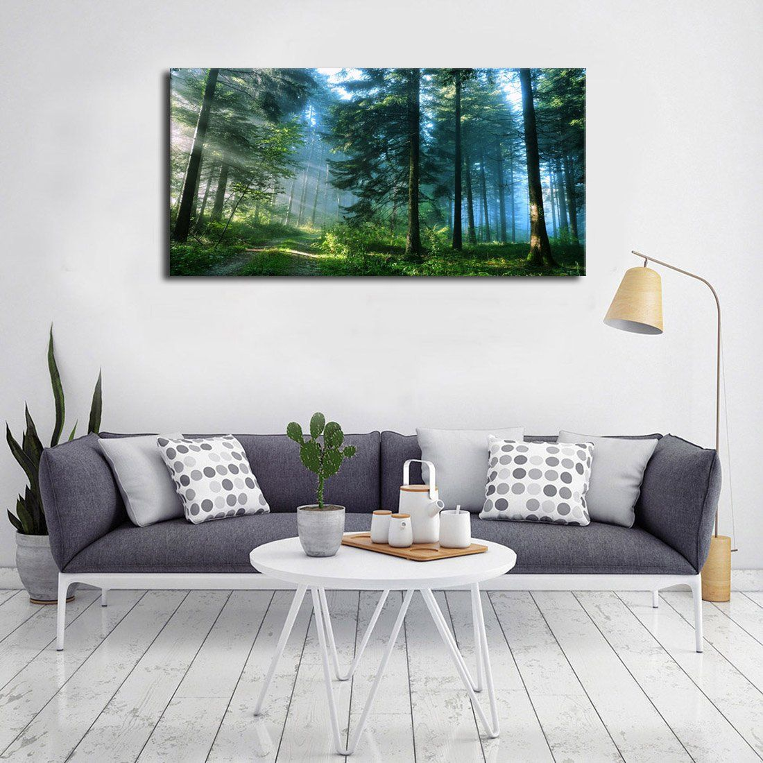 Green Forest Canvas Wall Art Living Room Wall Decor Long Nature