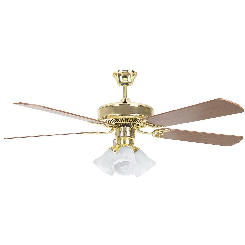 Radionic Hi Tech Tutor 52 In Polished Brass Ceiling Fan With Light Kit And 5 Blades Lum Fan 52heh5ebb Rht The Home Depot Brass Ceiling Fan Ceiling Fan Bronze Ceiling Fan