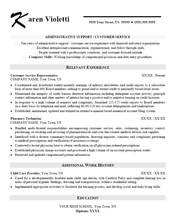 sample resume for customer service representative in retail skills based resume template administrative assistant - Cv Employment History Example