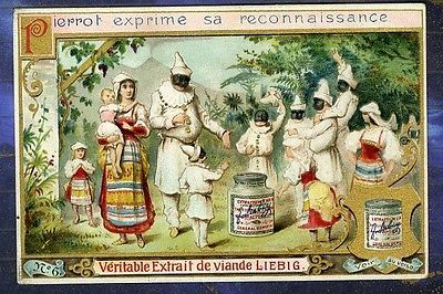 Chromo Liebig S322 Pierrot Colombine Famille Family Enfants Old Trade Card