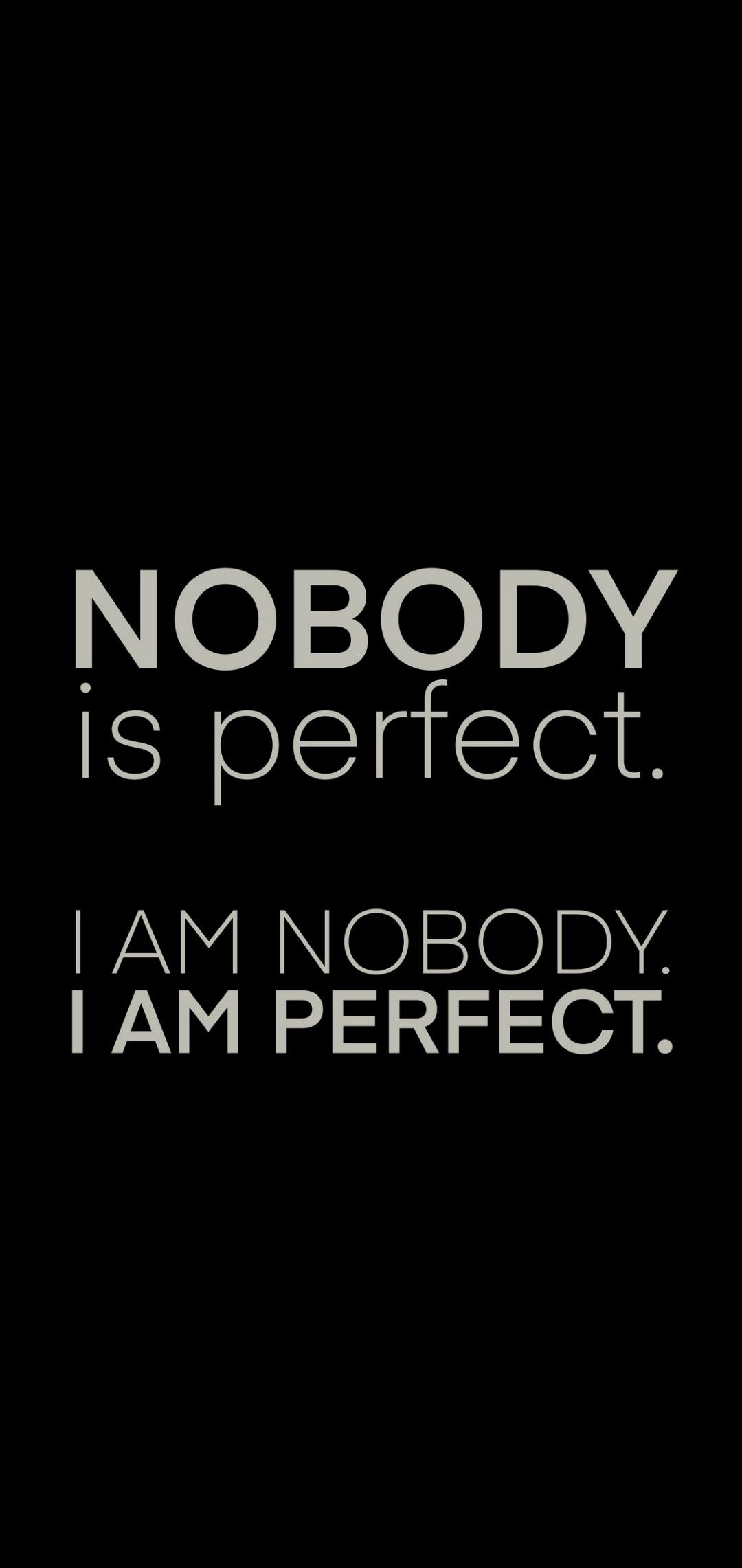 Nobody is perfect. I am nobody i am perfect. | Words