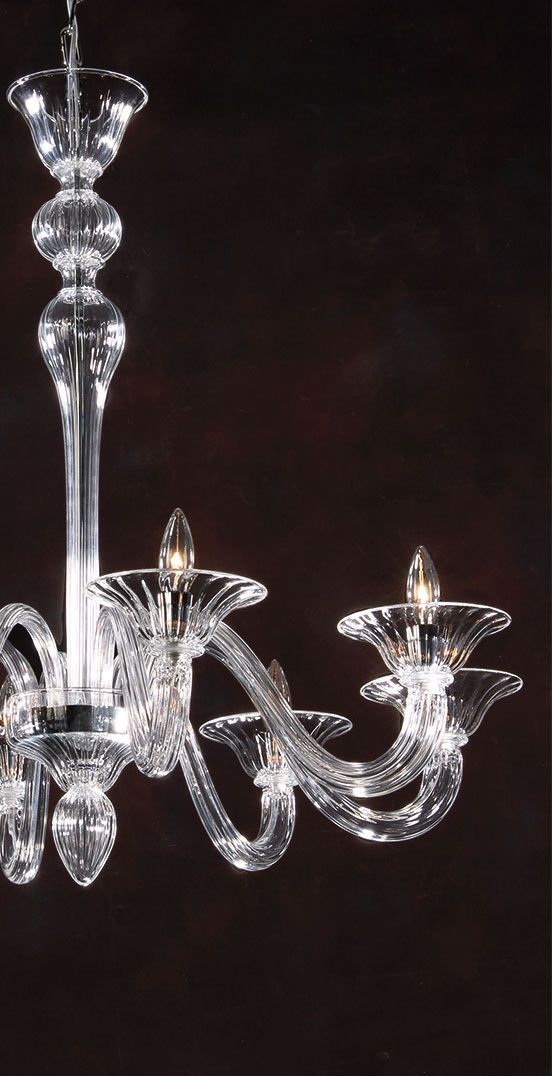 Hand Blown Clear Venetian Glass Chandelier Murano Glass