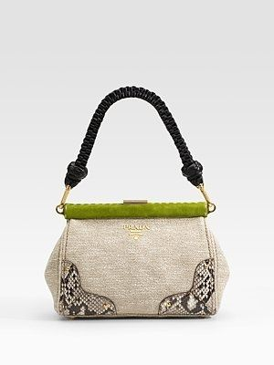 Prada Lino Twist Frame Shoulder Bag Saks Stylesays