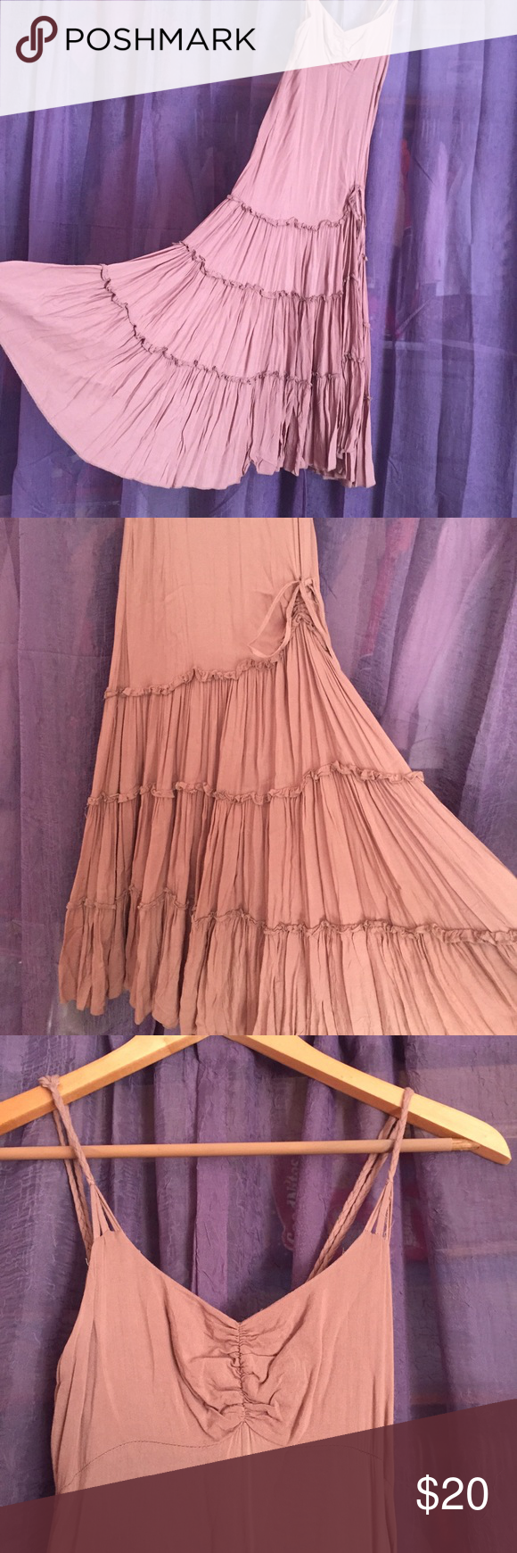 Taupe beige summer dress Effortlessly boho maxi with its beautiful tone and layered bottom. It also has functional ruching around the hips for a touch of accent. Braided shoulder straps are adjustable. Semi-sheer but I had no problem just wearing nude undergarment. Dresses Maxi