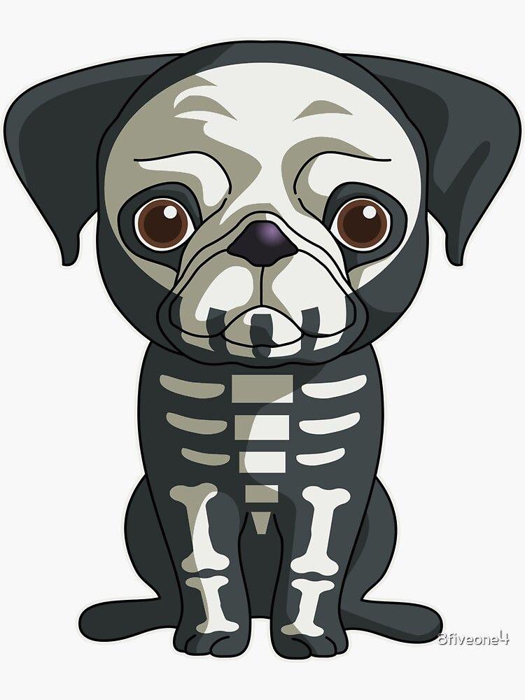 Cute Pug Skeleton Funny Skeleton Halloween Gift For Dog Lovers