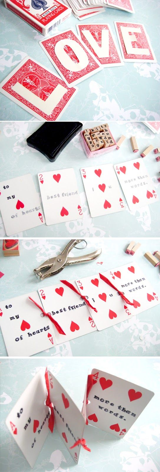 DIY Playing Card Message Valentines In Honor Of Design – Valentine Playing Cards