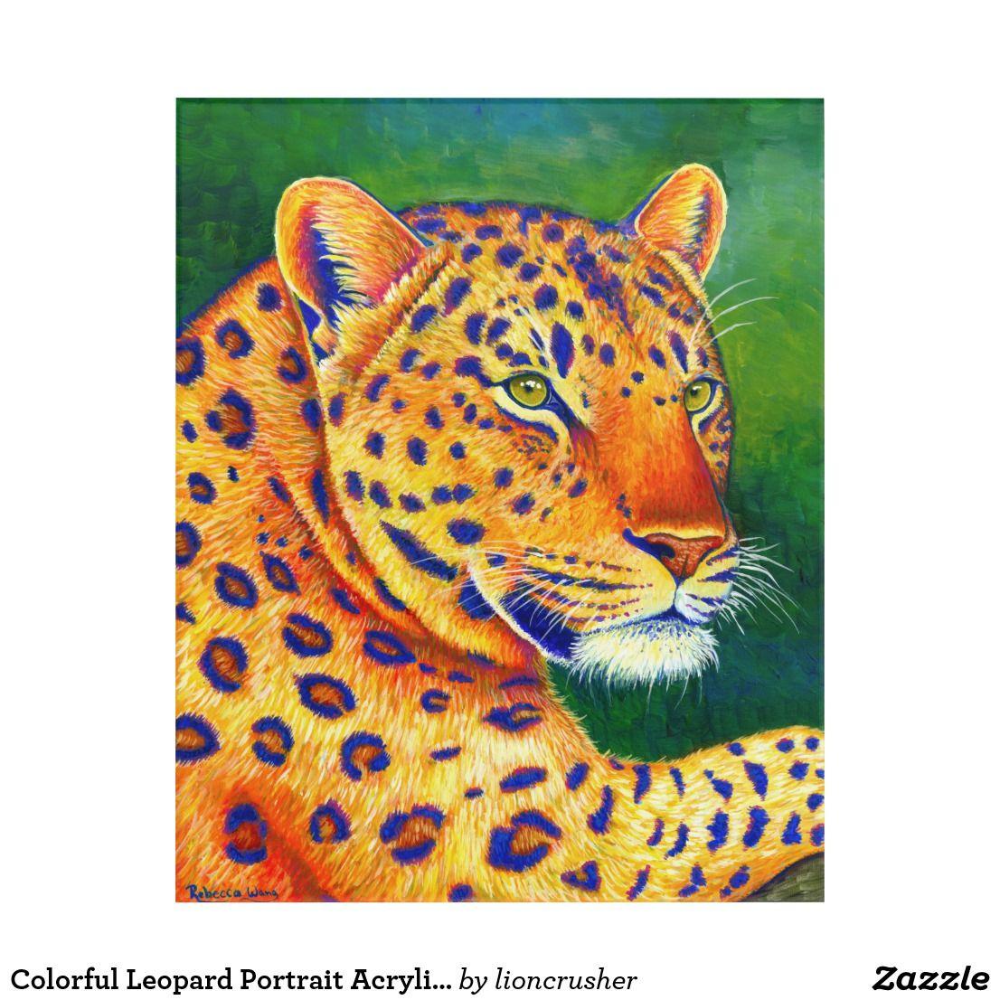 Colorful leopard portrait acrylic wall art wall art fine art