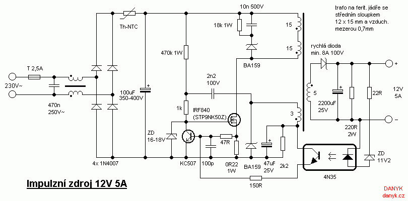 12v 5a De Alimentare Cu Comutare Switched Mode Power Supply Electrical Circuit Diagram Power Supply