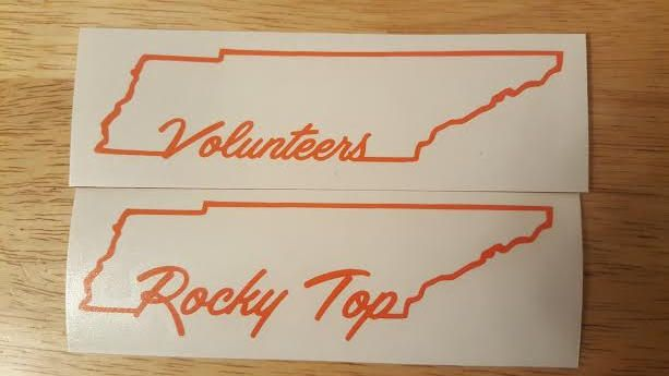 Tn tennessee volunteers rocky top vinyl decal state outline border by firedecals on etsy