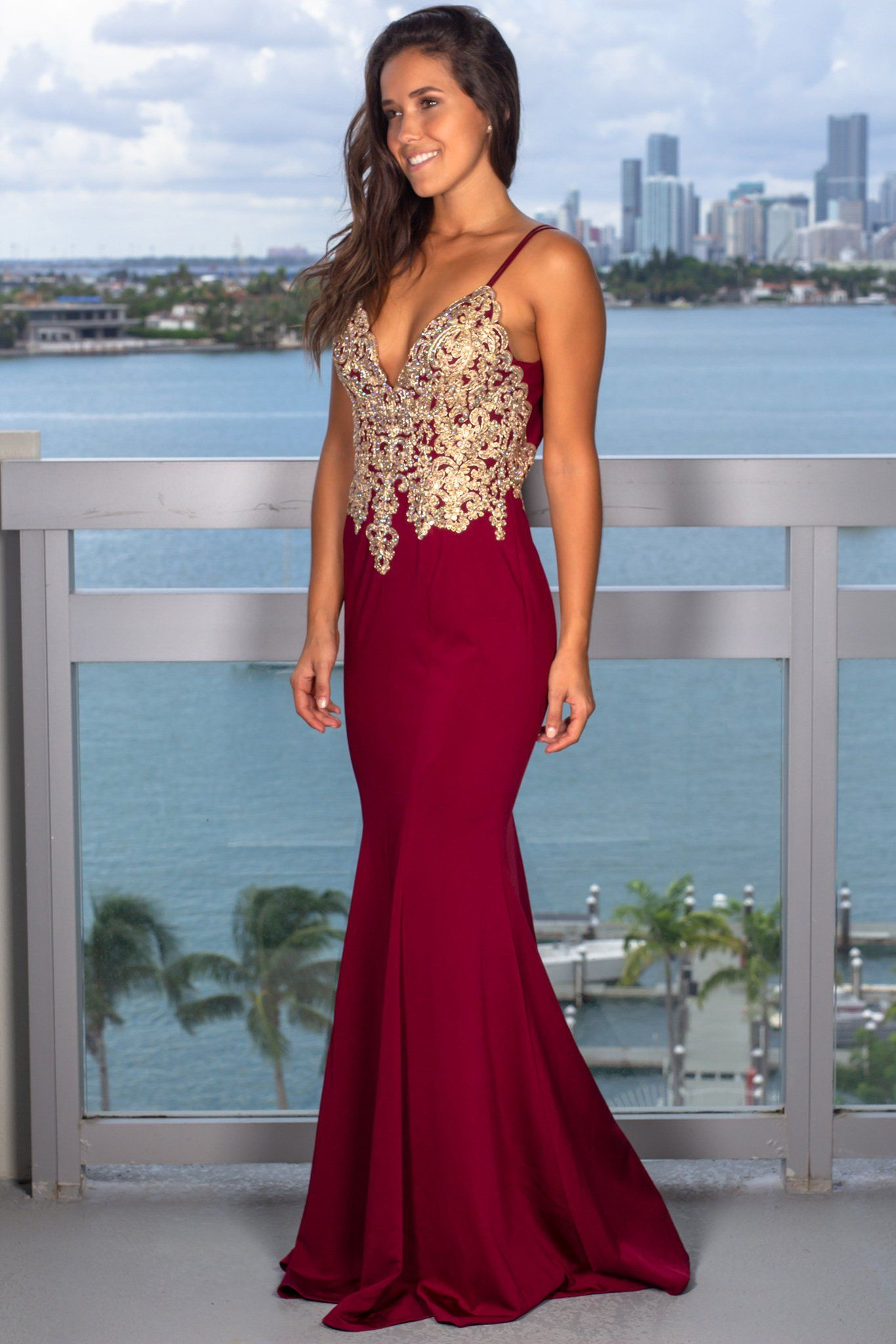 Wine maxi dress with jeweled top in fashion pinterest