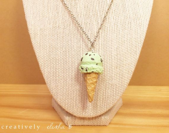 Mint Chocolate Chip Ice Cream Waffle Cone Charm