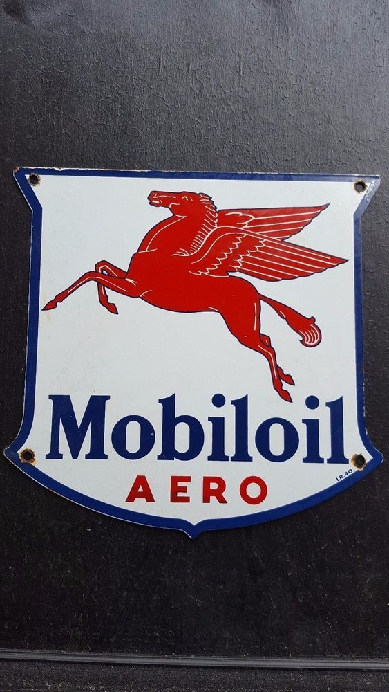 Merchandise & Memorabilia Signs Porcelain Mobiloils And Greases Enamel Sign Size 25 X 42 Inches