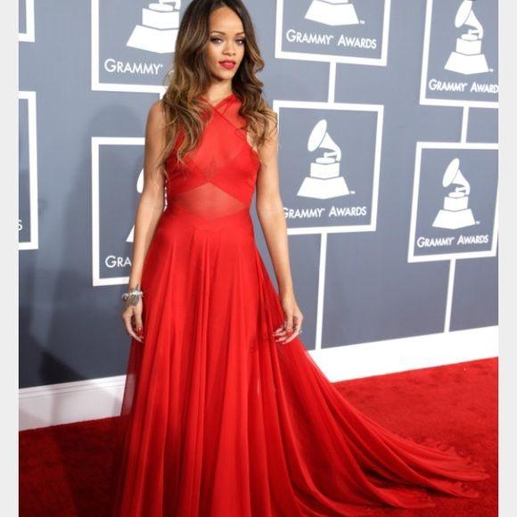 New celebrity Rihanna dress | Grammy dresses, Rihanna red ...