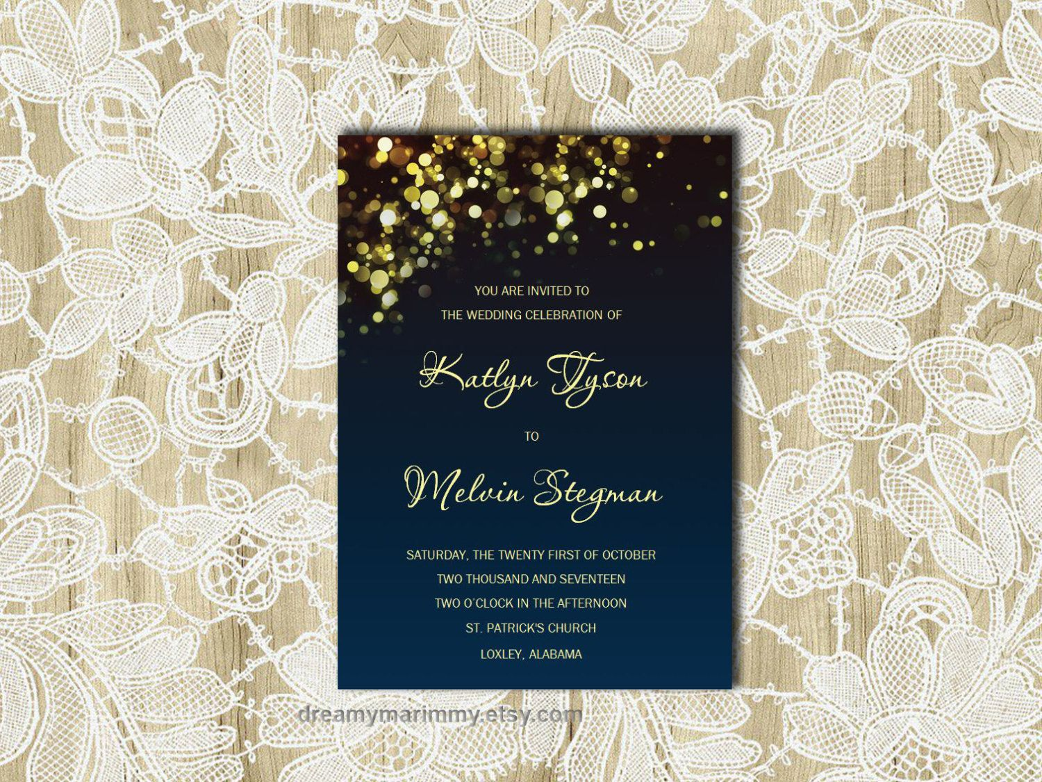 Navy Wedding Invitation Template Gold Sparkles Printable Wedding