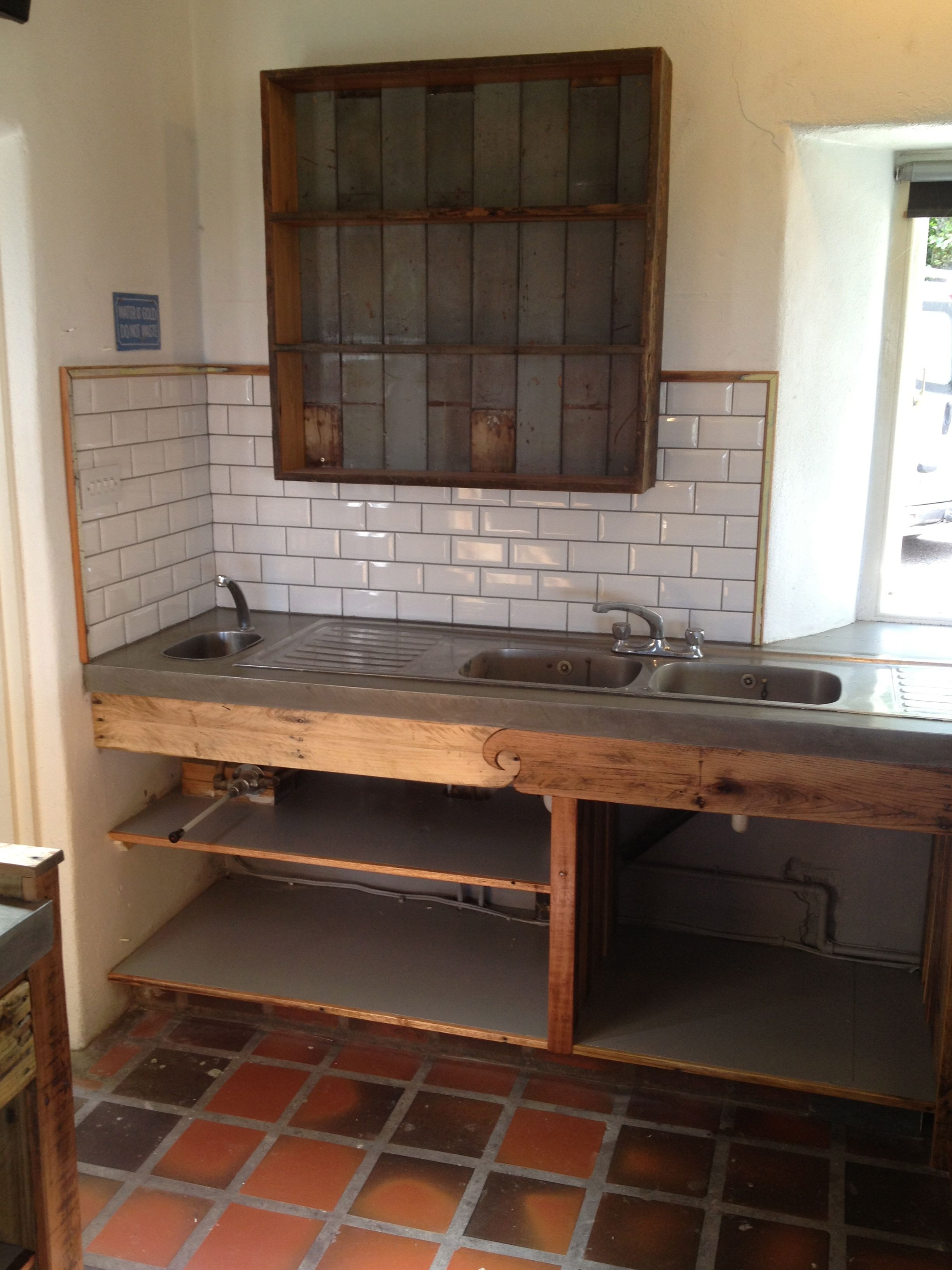 Beautiful Sink Unit End, Antique Pine Edging To The Tiles, Salvaged Oak Panneling