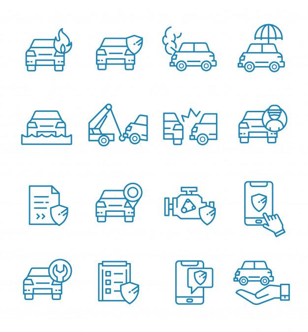 Conjunto De Icones De Seguro De Carro Com Estilo De Estrutura De Topicos Car Silhouette Car Icons Car Insurance