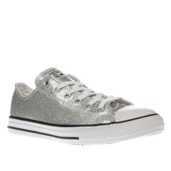 00f2db7ccb22 Converse Silver All Star Ox Glitter Girls Youth Keep your little All Star  sparkling all season