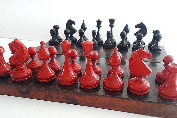 Antique Russian Chess Set Old Ussr Soviet Vintage Red Black Wooden Weighted