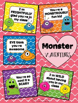 Fun Monster Themed Cards With Sayings Written Specifically To Be From  Teacher To Student,