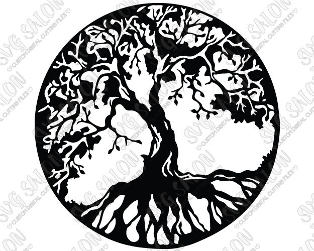 Tree Of Life Circle Silhouette Cutting File In Svg Eps
