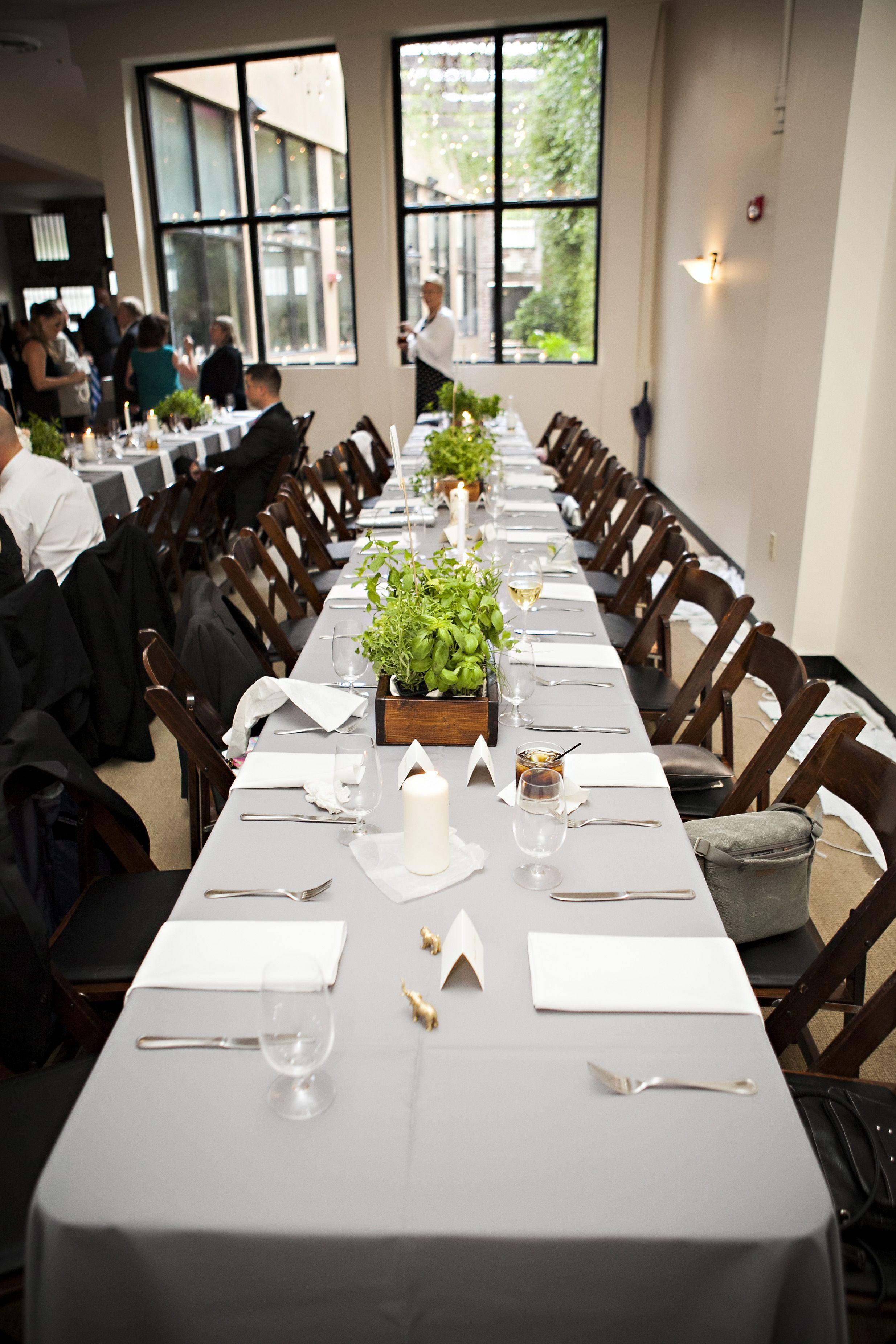 Table Setting Herb Centerpiece Wedding Bella Sera Jacksonville Fl