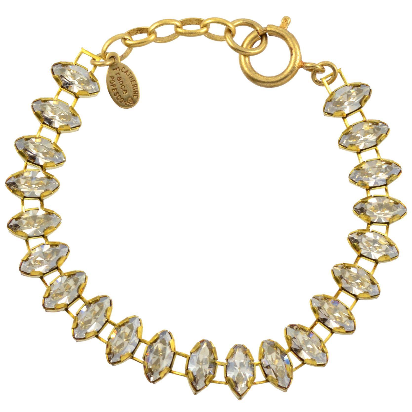 "Catherine Popesco Eye Shaped Tennis Bracelet, La Vie Parisienne Gold Plated with Grey Swarovski Crystal, 8"" 1637G SILS"