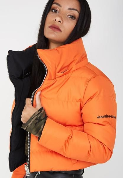 Cropped Puffer Jacket With Reversible Feature Reversible Feature Detachable Hood Cropped Silhouette Centre Front Silver Zip Fastening Shop The Look Be Ropa
