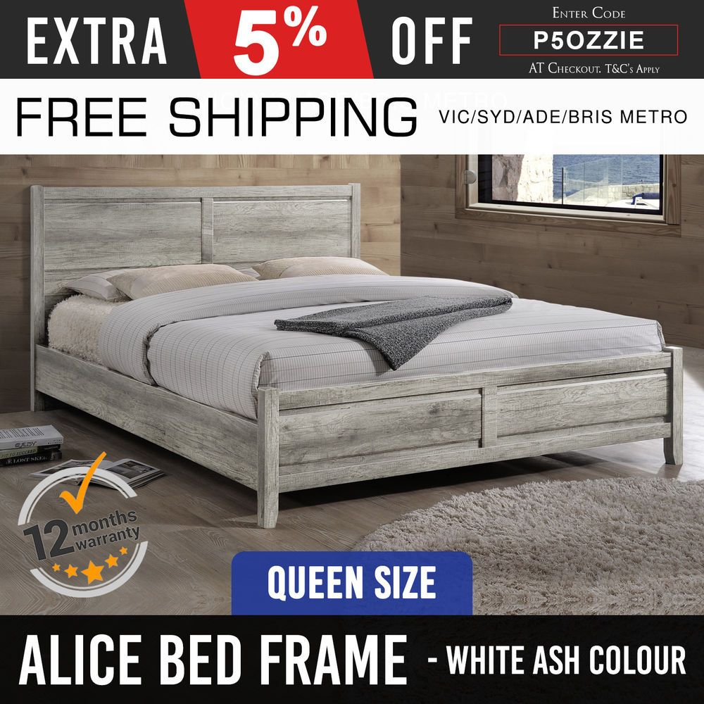 Bed Frame MDF Aesthetic Strong Legs Flat Pack Queen Size White Ash ...