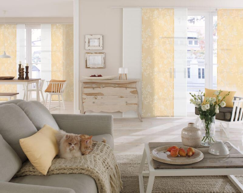 Plissee Wohnzimmer ~ Wohnzimmer flaechenvorhang gelb sonne ❤ vielfältige plissees