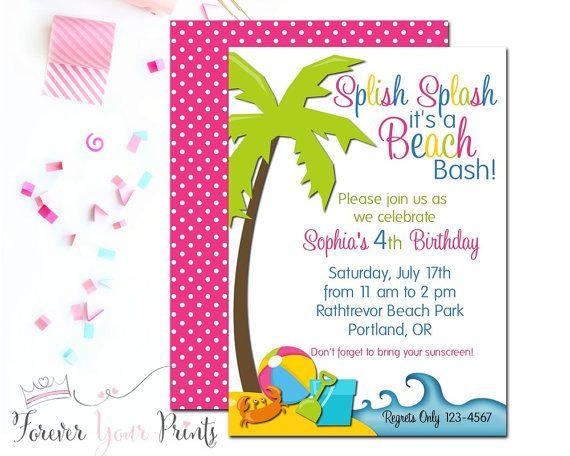 Beach Birthday Invitation Girls Beach Invitation Beach Party