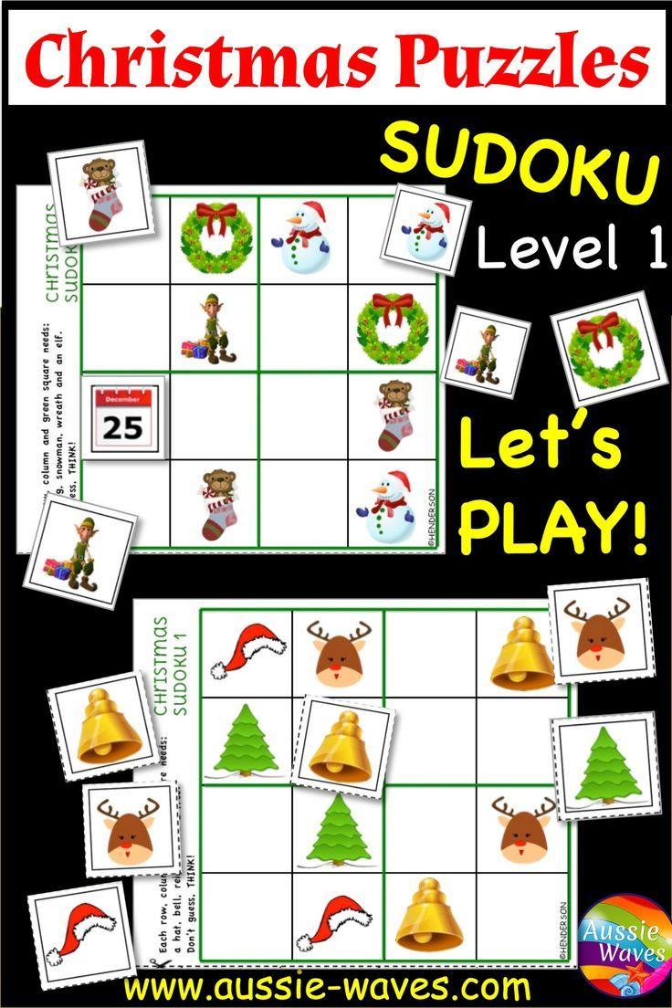 CHRISTMAS Puzzles SUDOKU Easy Level Christmas learning