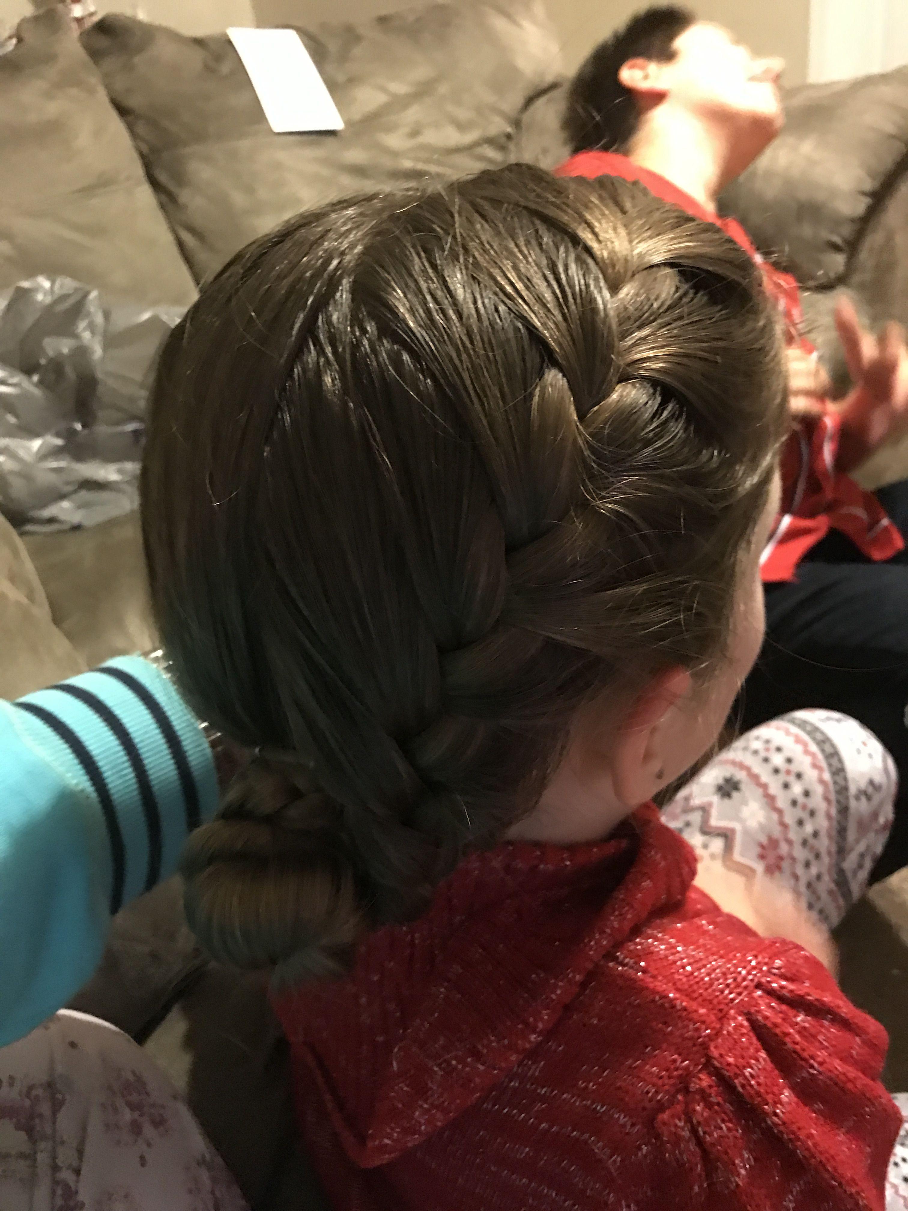 Side French braid wrapped into side bun #princesshair