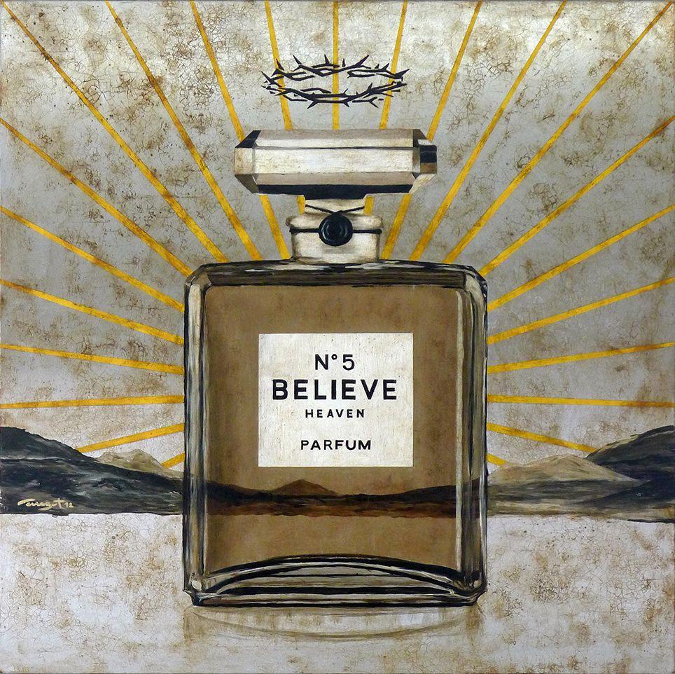 Jose Luis Ferragut - Believe Nº5 - 2012, oil on stainless steel canvas. 100 X 100 CM.