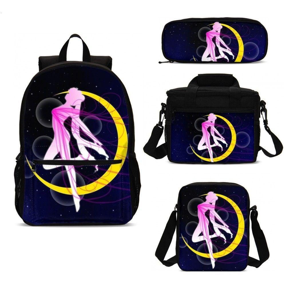 Sailor Moon Anime Print Kawaii 4pcs School Bag Set Kids Bookbag With Food Thermal Box Pencase   Thi
