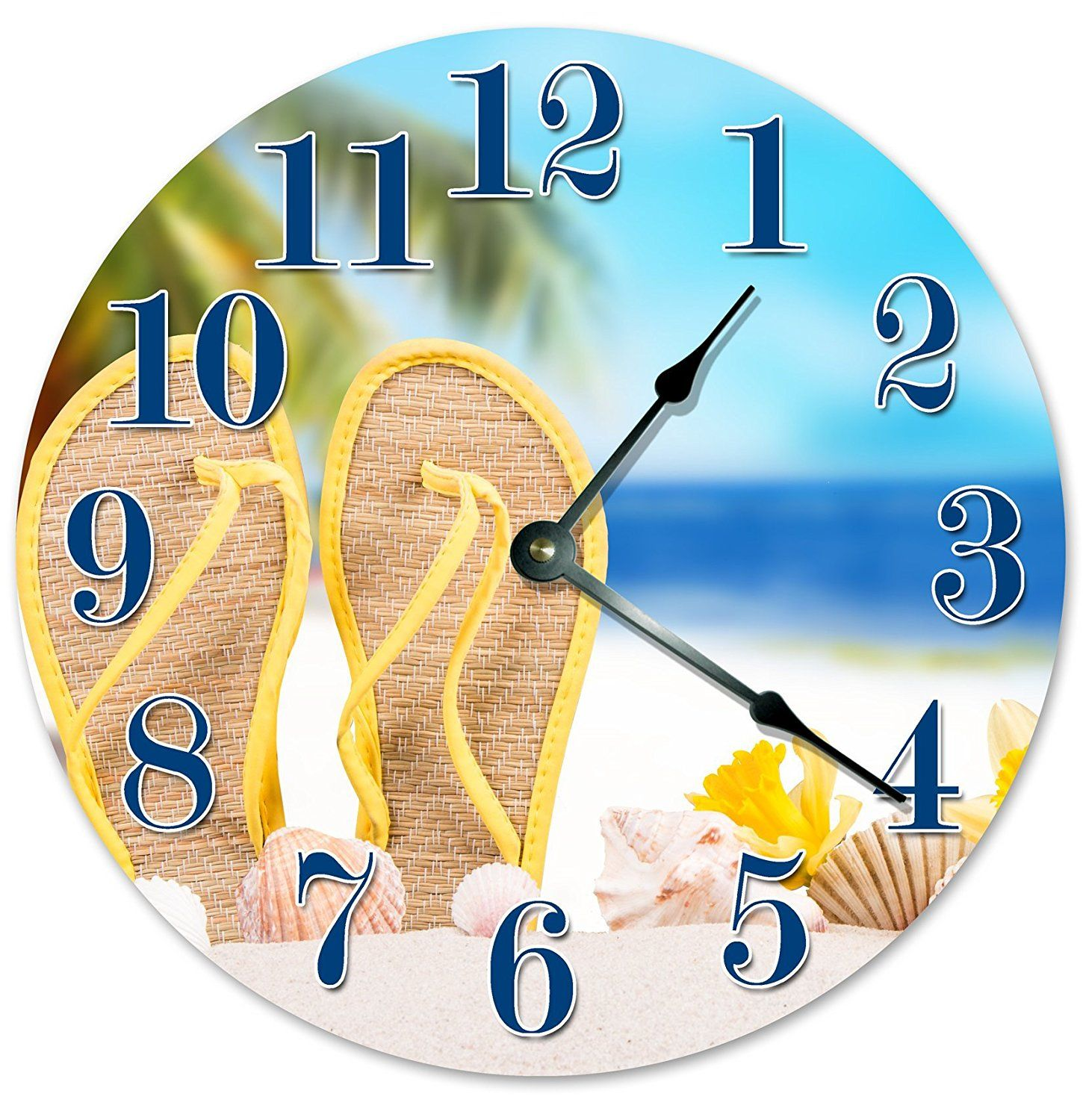 SANDALS IN THE SAND Unique Clock Large 10.5\' Wall Clock Decorative ...