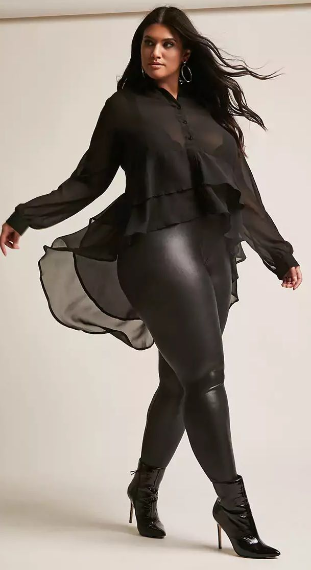 Plus Size Sheer High-Low Top - Plus Size Fashion for Women