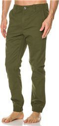 Men's RVCA jogger pants.  Skinny fit.  Elastic cuffs at ankles.  Zip fly, button closure.  Front slant pockets and back welt pockets.  17 inch knee opening.  11 inch bottom leg opening.  31 inch inseam.  99,otton, 1<pandex.  Imported.     Size & Fit Guide    Model's Height: 6'1  Model's Waist: 32 inches.  Model's Inseam: 32 inches.